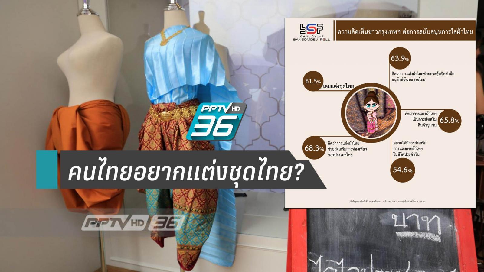 คนไทยส่วนหนึ่ง 54.6 % อยากให้ส่งเสริมแต่งชุดไทยในชีวิตประจำวัน