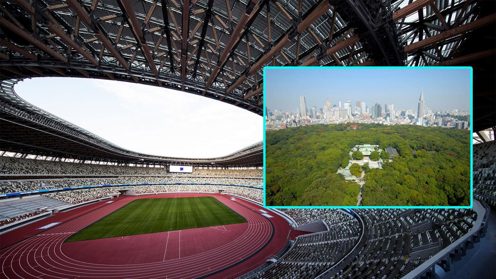 ญี่ปุ่นออกแบบ สนามกีฬาโตเกียวโอลิมปิก 2020 ให้ต่ำที่สุด หวั่นบดบังวิวต้นไม้ในศาลเจ้าเมจิ