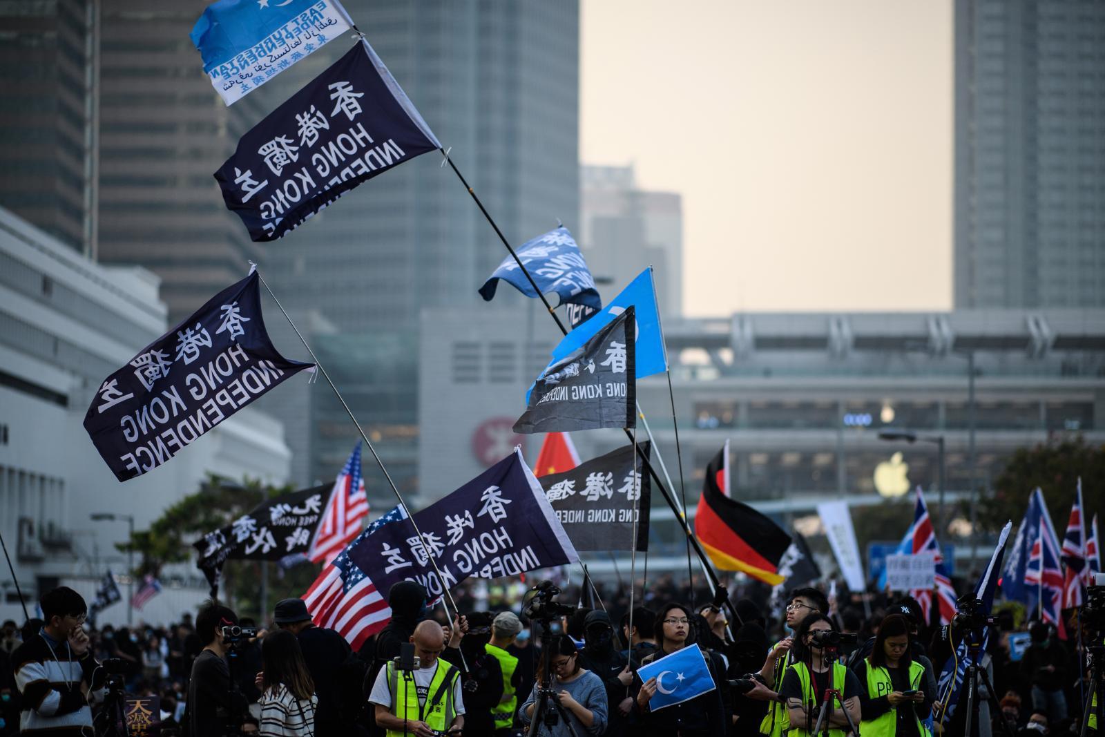 ม็อบฮ่องกงเรียกร้องเสรีภาพให้ชนกลุ่มน้อยอุยกูร์ในจีน