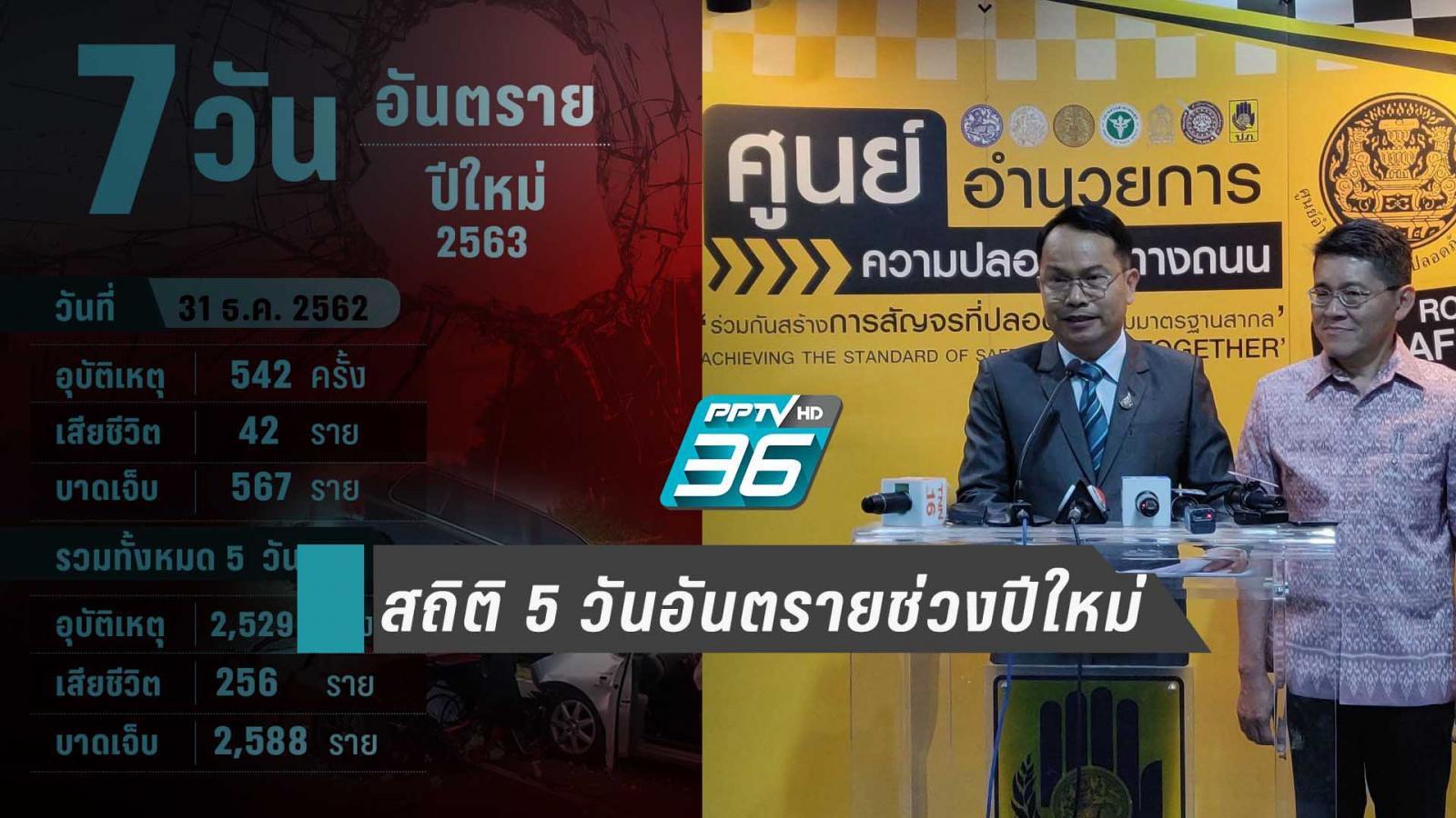 สถิติ 5 วันอุบัติเหตุช่วงใหม่เสียชีวิต 256 ราย เจ็บรวม 2,588 คน