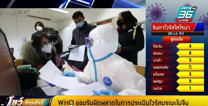 WHO ยอมรับผิดพลาดในการประเมินไวรัสโคโรนาในจีน