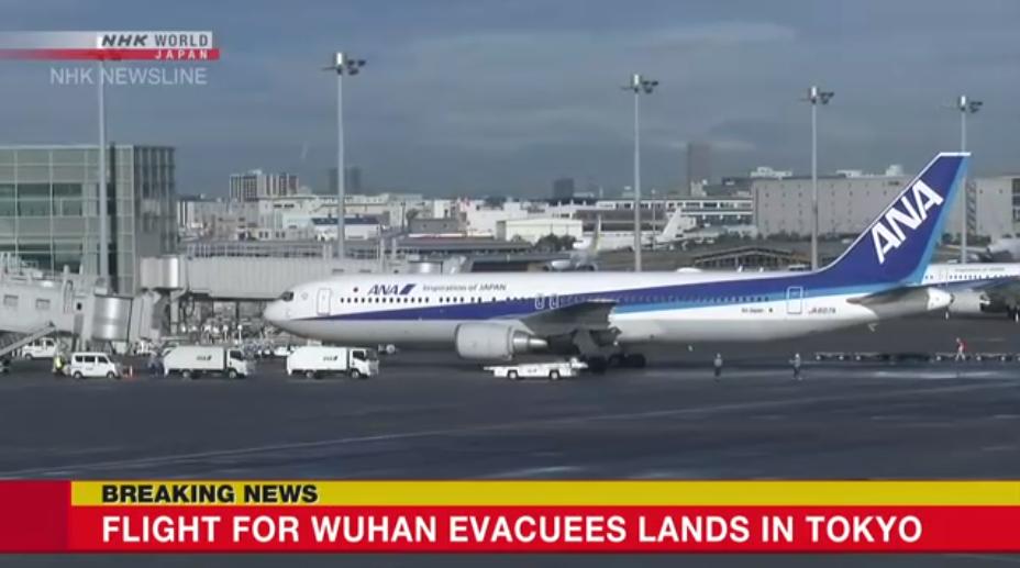 ชาวญี่ปุ่นกว่า 200 คน อพยพออกจากอู่ฮั่น ถึงกรุงโตเกียวแล้ว