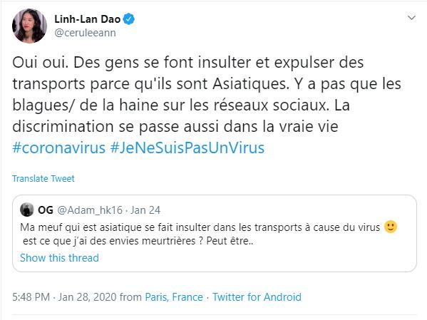 ไวรัสโคโรนา: #ฉันไม่ใช่ไวรัส ต่อต้านการเหยียดผิวในฝรั่งเศส
