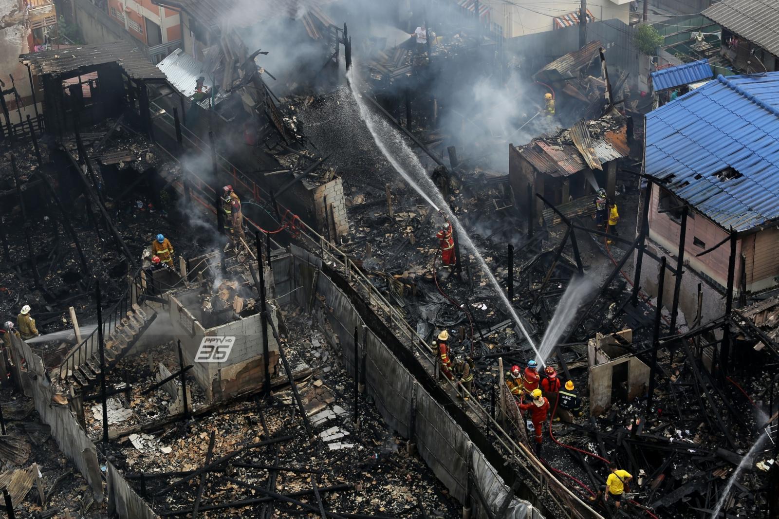 เพลิงสงบ! หลังไฟไหม้ชุมชนวัดมะกอก เบื้องต้นยังไม่ทราบสาเหตุ