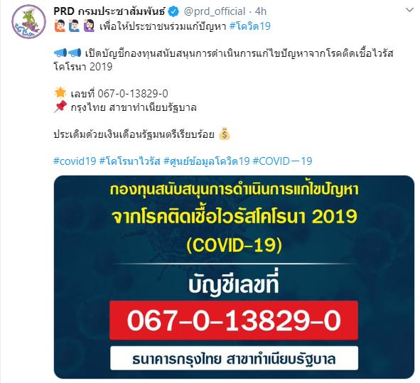 รัฐบาลจัดตั้งกองทุน เปิดรับบริจาคแก้ปัญหาโควิด-19