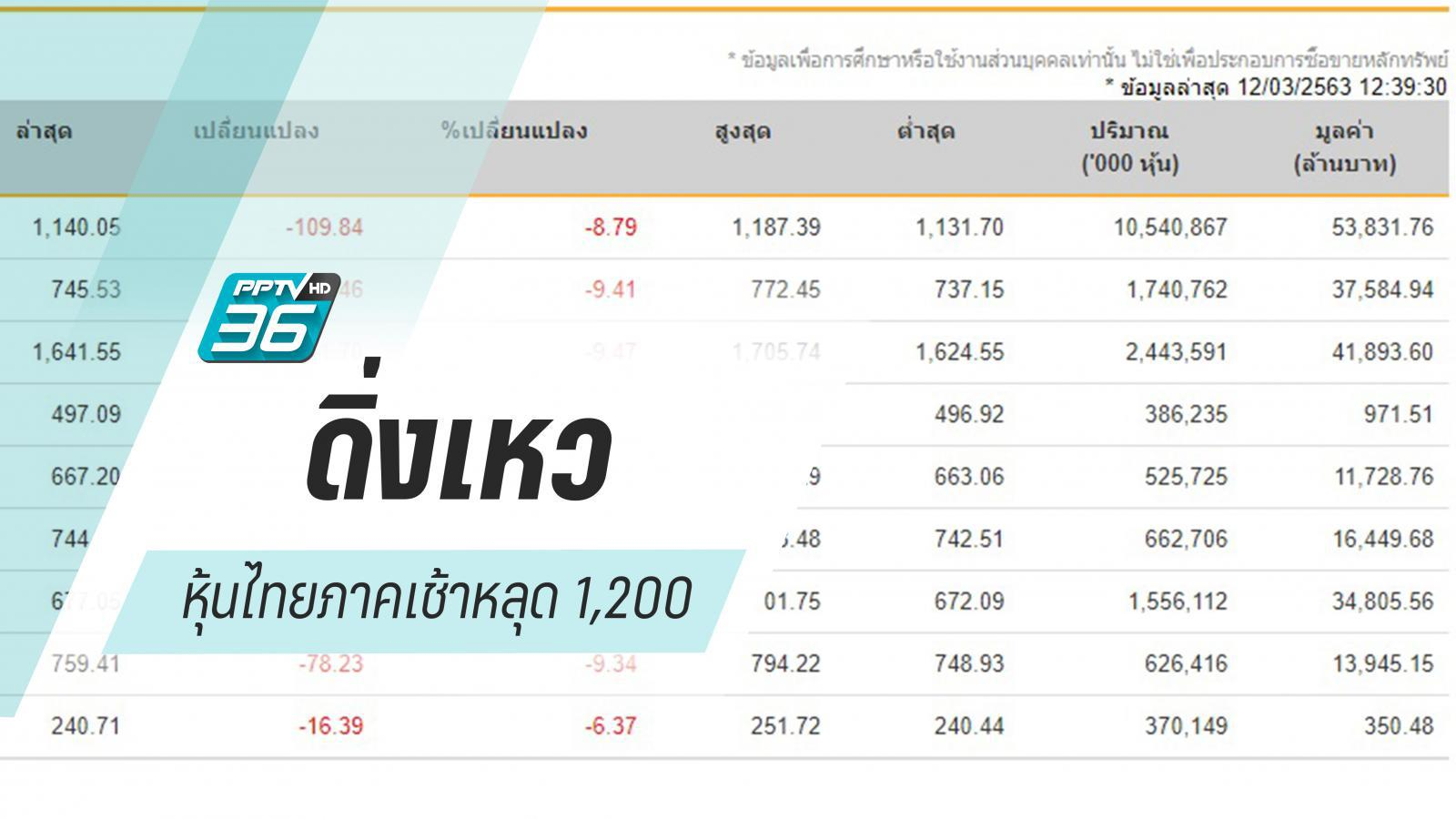 """หุ้นไทยภาคเช้าดิ่งเหว """"ร้อยกว่าจุด"""""""