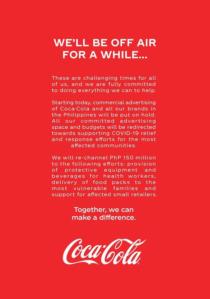 โคคา-โคล่า หยุดโฆษณาชั่วคราว นำงบช่วยรับมือโควิด-19