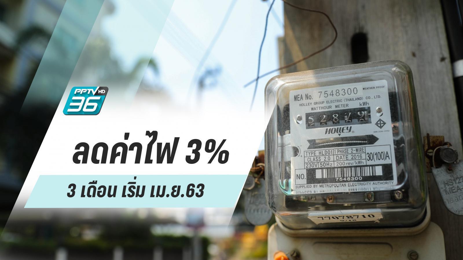 ข่าวดี! ลดค่าไฟ 3% 3 เดือน เริ่ม เม.ย.นี้