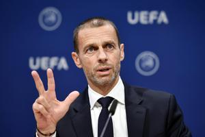 """""""ปธ.ยูฟ่า"""" แย้มอาจยกเลิกบอลถ้วยยุโรป หากแข่งไม่จบใน 3 ส.ค."""