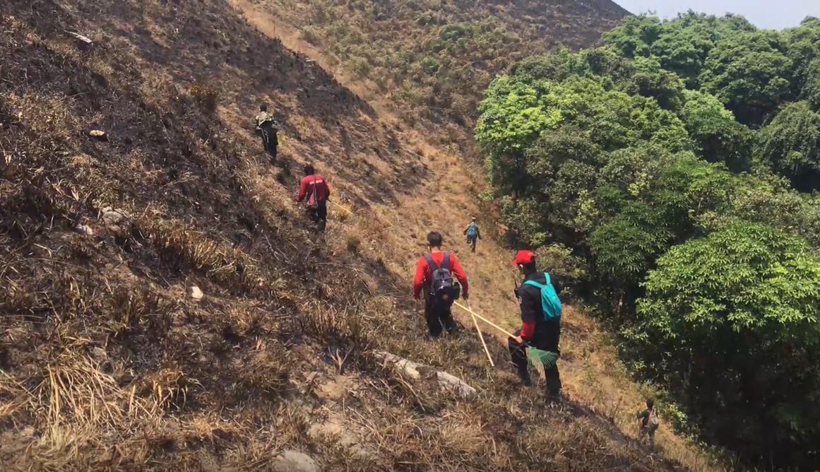 """""""ดอยม่อนจอง"""" ถูกไฟป่าเผากลายเป็นภูเขาสีดำ"""