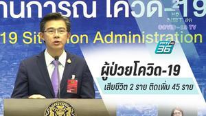 ผู้ป่วยโควิด-19 เสียชีวิตเพิ่ม 2 ราย เป็นชายไทย ติดเพิ่ม 45 ราย