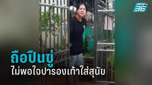 ดุเดือด! สาวถือปืนขู่ หลังเพื่อนบ้านปารองเท้าใส่ฝูงสุนัขที่จะมากัด