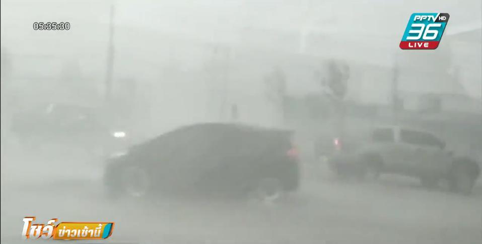 พายุถล่มขอนแก่น ร้านริมถ.มิตรภาพกว่า 20 ร้าน ถูกพายุพัดหลังคาปลิวหาย