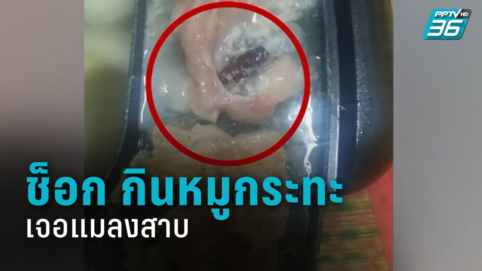 สาวช็อก กินหมูกระทะเจอแมลงสาบปนมากับหมูหมัก