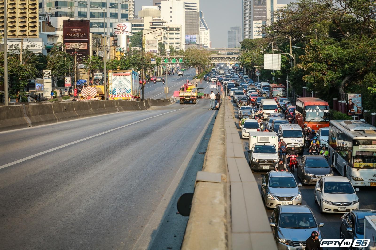 12.00 น. เปิดใช้สะพานไทย-เบลเยียม 1 ฝั่ง ลดจราจรแออัด