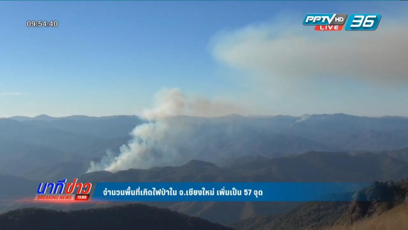 จำนวนพื้นที่เกิดไฟป่าใน จ.เชียงใหม่ เพิ่มเป็น 57 จุด