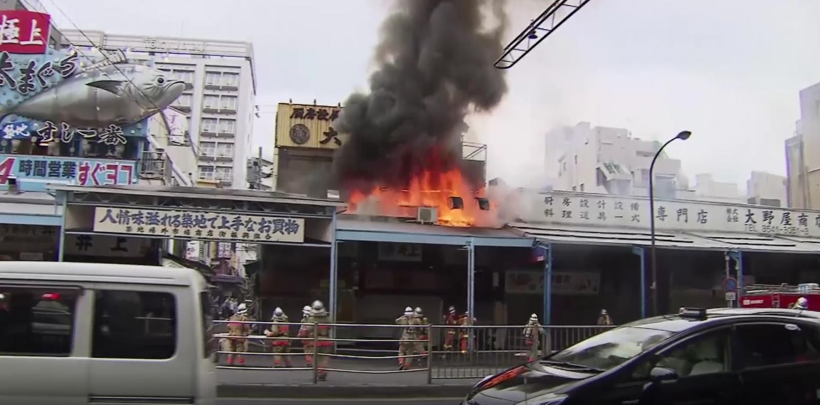 ไฟไหม้ตลาดปลาซึกิจิ วอด 5 หลัง