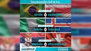 โปรแกรมฟุตบอลโลกวันที่ 22 มิ.ย. และอัพเดตผลบอลโลก