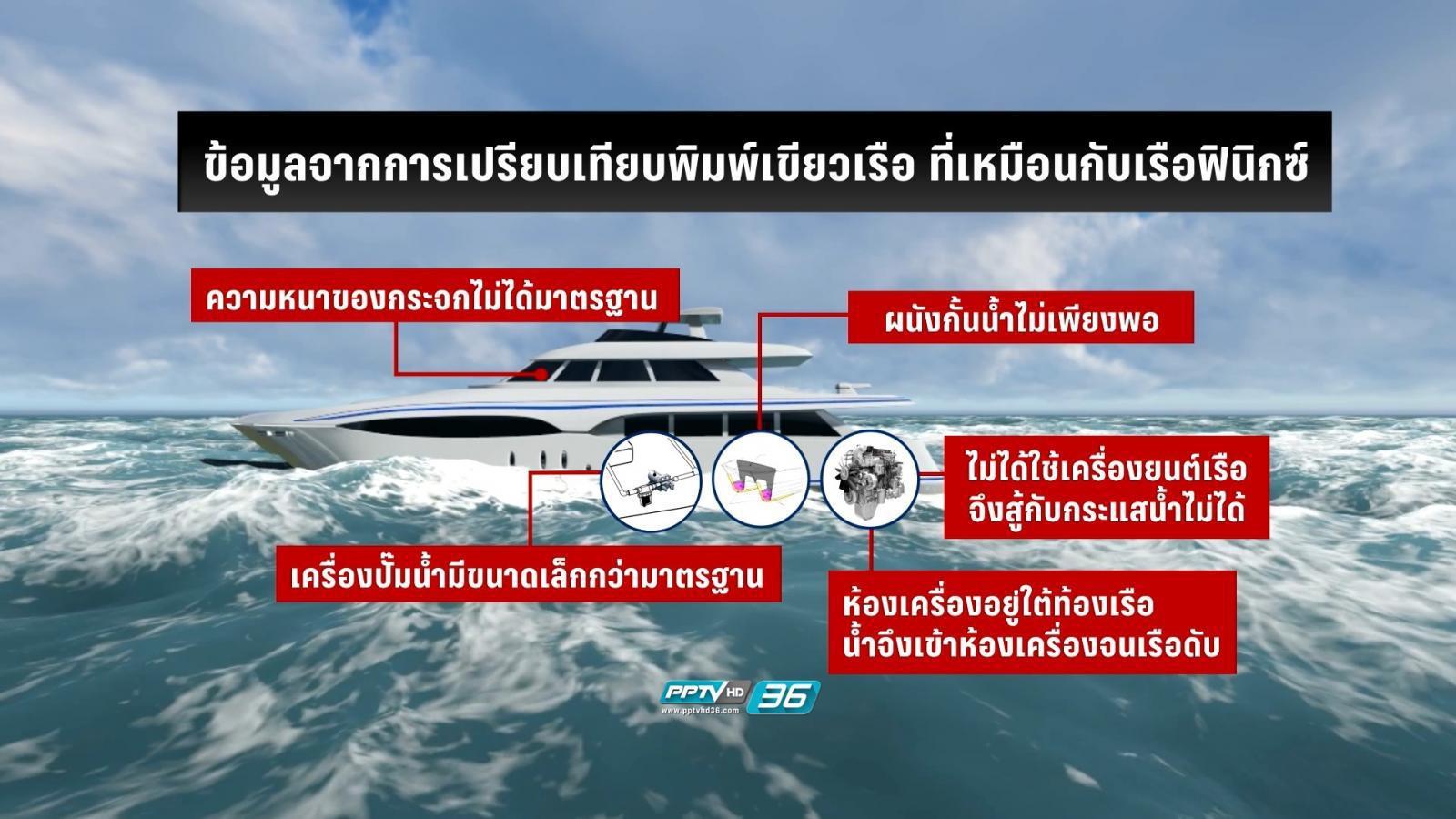"""ตร.พบ """"เรือฟินิกซ์"""" ใช้เครื่องยนต์รถสิบล้อ-ศูนย์ถ่วงเรือไม่สมดุล"""