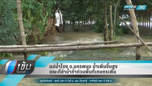 แม่น้ำโขง จ.นครพนม น้ำเพิ่มขึ้นสูง ขณะที่ลำน้ำก่ำท่วมพื้นที่เกษตรเพิ่มอีก