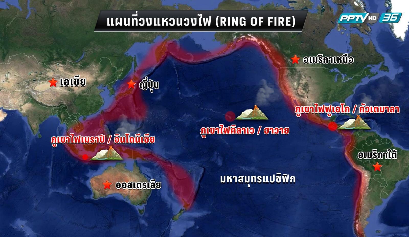 """ภูเขาไฟปะทุ 3 ลูกในระยะเวลาไล่เลี่ยกัน บนแนว """"วงแหวนแห่งไฟ"""""""