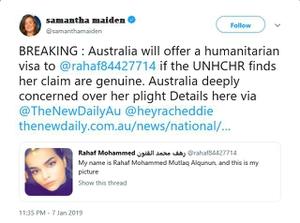 ทางการออสเตรเลียพร้อมให้วีซ่าลี้ภัยสาวซาอุฯ