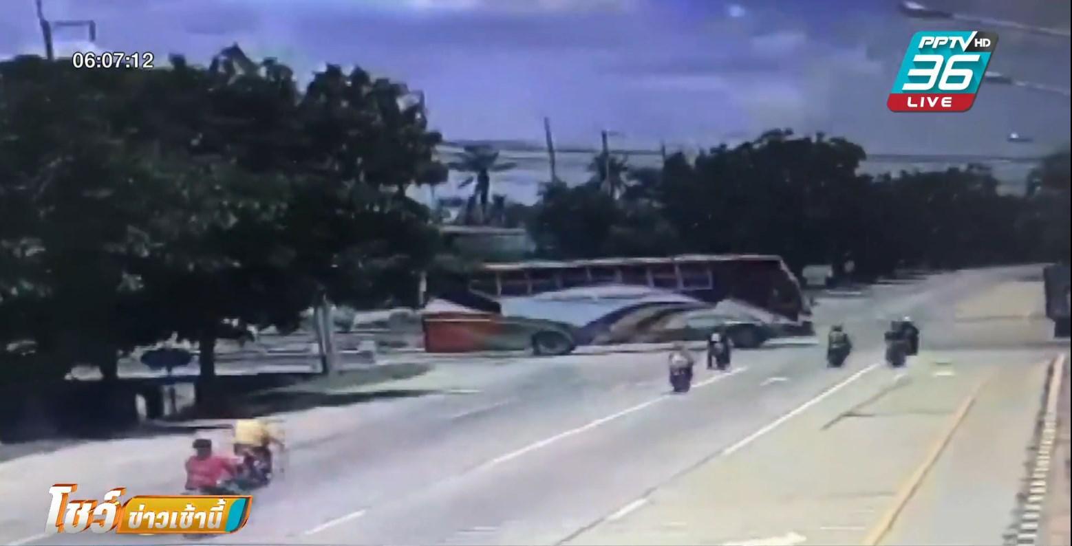 กลุ่มมอไซค์สายบุญ ขี่เจอสลิงลากรถ เสียหลักพลิกคว่ำ ดับ 3