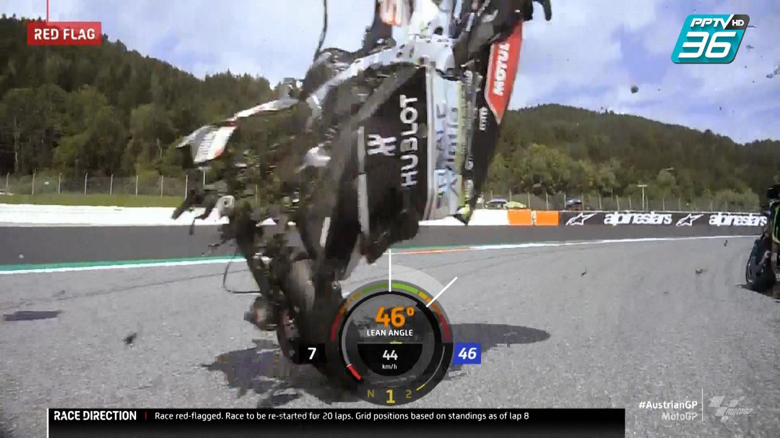 ภาพจากหน้ารถของ Valentino Rossi รอดมาได้หวุดหวิด