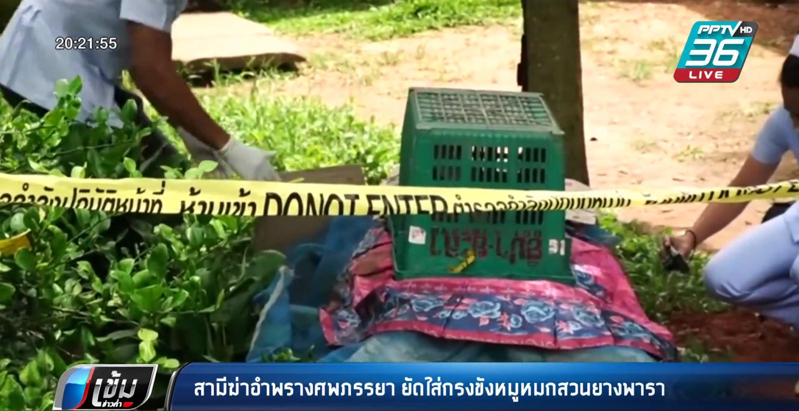 สามีฆ่าอำพรางศพภรรยา ยัดใส่กรงขังหมูหมกสวนยางพารา