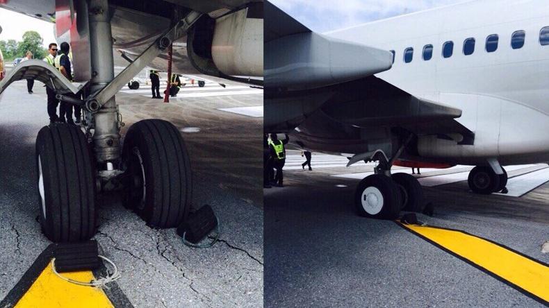 """สายการบิน """"ไทยไลออนแอร์"""" ตกร่องพื้นรันเวย์ สนามบินหาดใหญ่"""