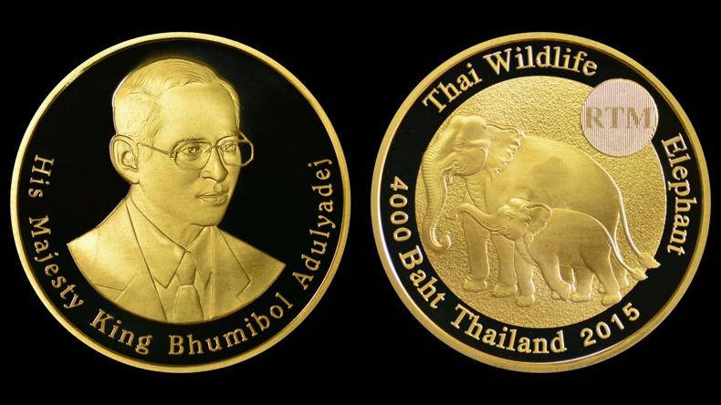 """ส่งเหรียญกษาปณ์ """"ช้างไทยคู่แม่-ลูก"""" อวดสู่สายตาชาวโลก"""
