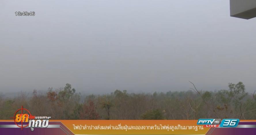 ไฟป่าลำปางส่งผลค่าเฉลี่ยฝุ่นละอองจากควันไฟพุ่งสูงเกินมาตรฐาน