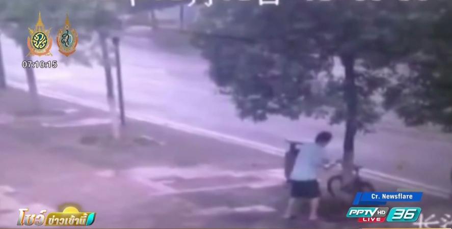 โจรลงทุนใช้เลื่อย ตัดต้นไม้ขโมยจักรยาน (คลิป)