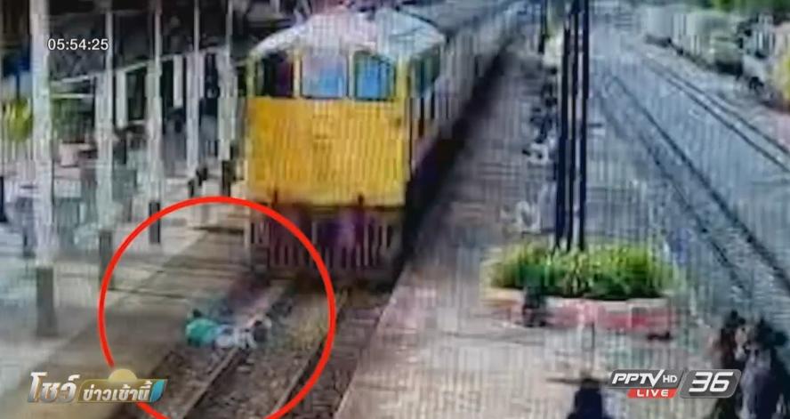 สุดระทึก! ชายหนุ่มคลานให้รถไฟทับร่าง จ.เพชรบุรี (คลิป)