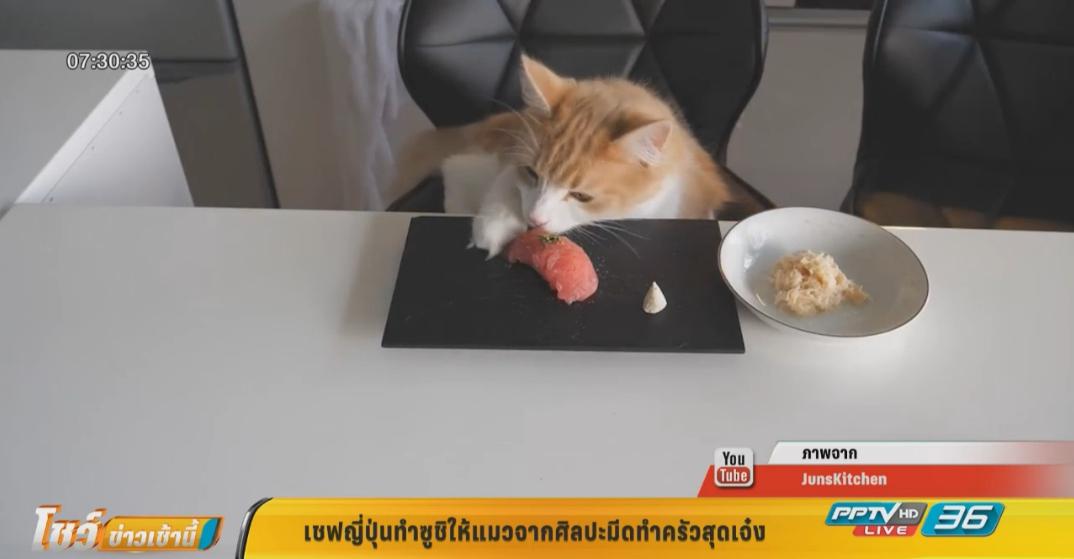 เชฟญี่ปุ่นทำซูชิให้แมวจากศิลปะมีดทำครัวสุดเจ๋ง