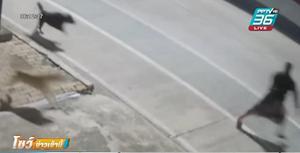 หนุ่มวิ่งหนีหมาลงถนน ถูกมอไซค์ขี่มาชนบาดเจ็บ