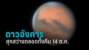 """ห้ามพลาด! 14 ต.ค. """"ดาวอังคาร """"โคจรตรงข้ามดวงอาทิตย์ สุกสว่างตลอดทั้งคืน"""