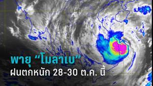 """เตือน!! พายุไต้ฝุ่น """"โมลาเบ"""" ไทยมีฝนตกหนัก 28-30 ต.ค. นี้"""
