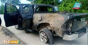 คนร้ายลอบวางระเบิดรถทหารพราน พังยับ ทหารรอดหวุดหวิด