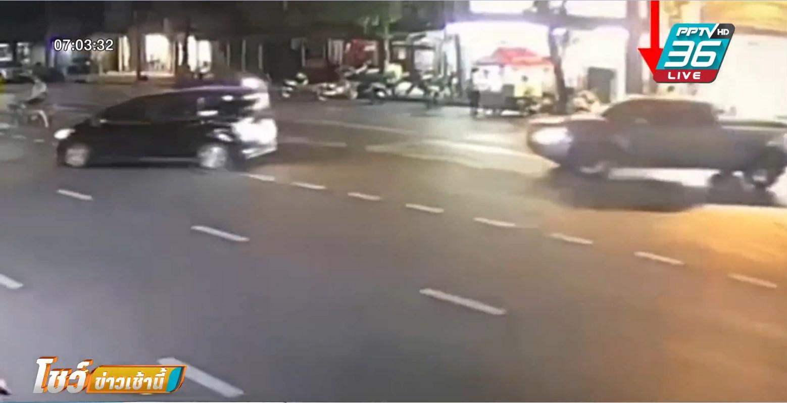 สาวขับเก๋งช้า ถูกกระบะขับตาม ก่อนใช้ปืนยิงใส่