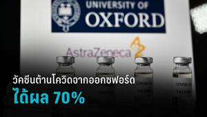 วัคซีนป้องกันโควิด-19 จาก มหาวิทยาลัยออกซฟอร์ด ได้ผล 70%