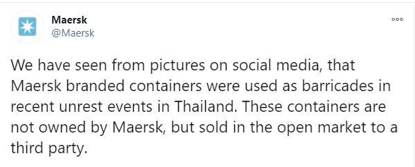 บริษัทเจ้าของตู้คอนเทนเนอร์แจง กรณีถูกนำมาใช้สกัดผู้ชุมนุม