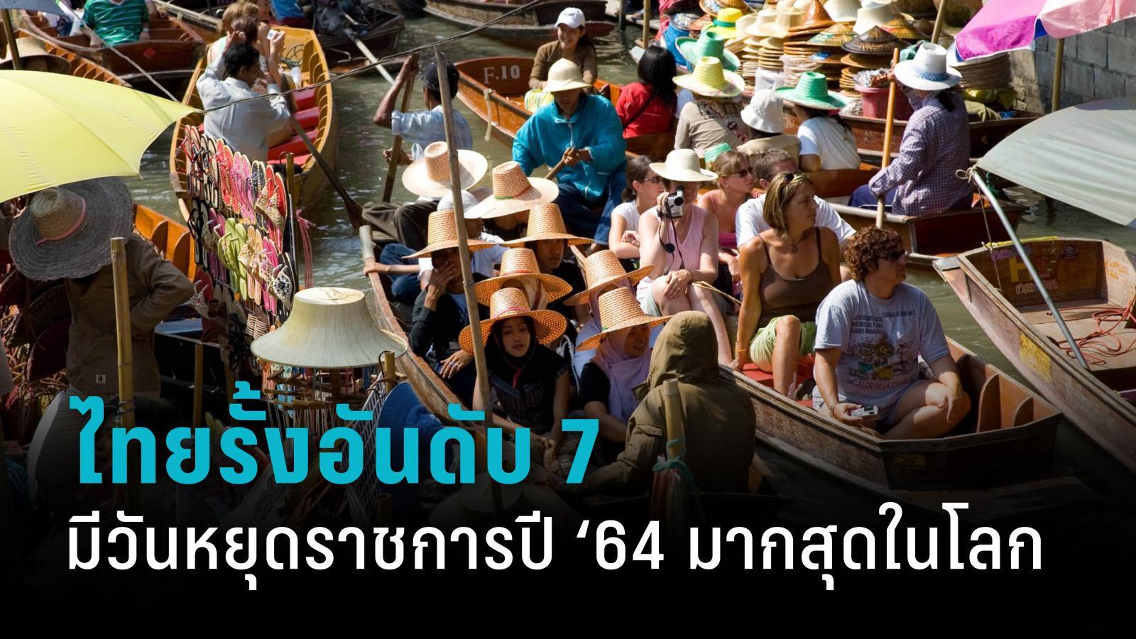 ประเทศไทยรั้งอันดับ 7 มีวันหยุดราชการปี '64 มากที่สุดในโลก