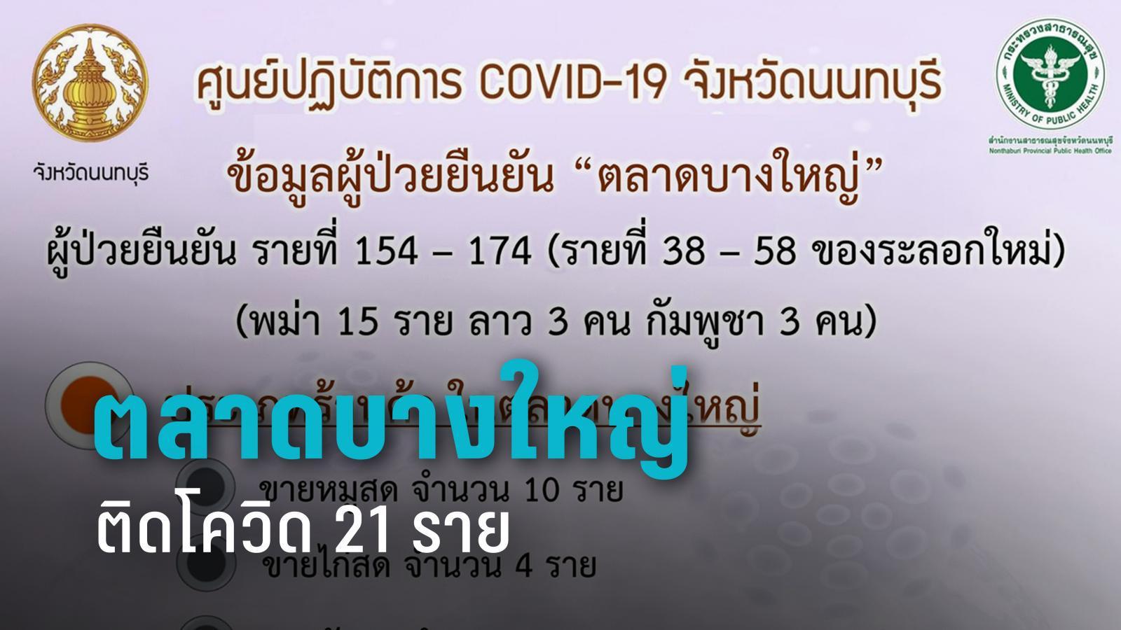 """นนทบุรี ยัน """"ตลาดบางใหญ่"""" ติดโควิด 21 ราย เตือนผู้ใช้บริการตรวจหาเชื้อ"""