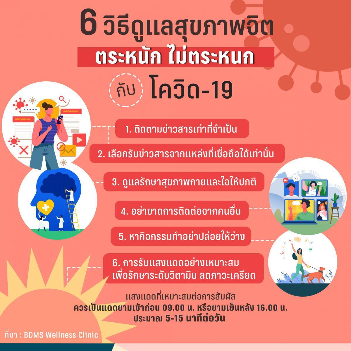 6 วิธีดูแลสุขภาพจิต คลายความวิตกกังวล ช่วงโควิด-19
