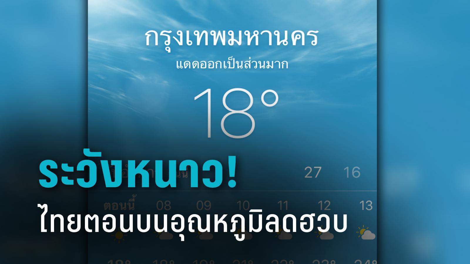 อุณหภูมิลดฮวบ! ไทยตอนบนหนาว ยอดดอย-ยอดภูมีน้ำค้างแข็ง กทม.ต่ำสุด 16-18 องศา