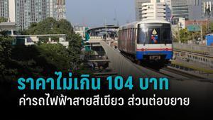 กทม. เคาะ ค่ารถไฟฟ้าสายสีเขียวใหม่ ส่วนต่อขยาย ตลอดสายไม่เกิน 104 บาท เริ่ม 16 ก.พ.นี้