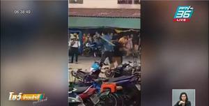 แรงงานกัมพูชา ยกพวกตีกัน ตลาดสี่มุมเมือง