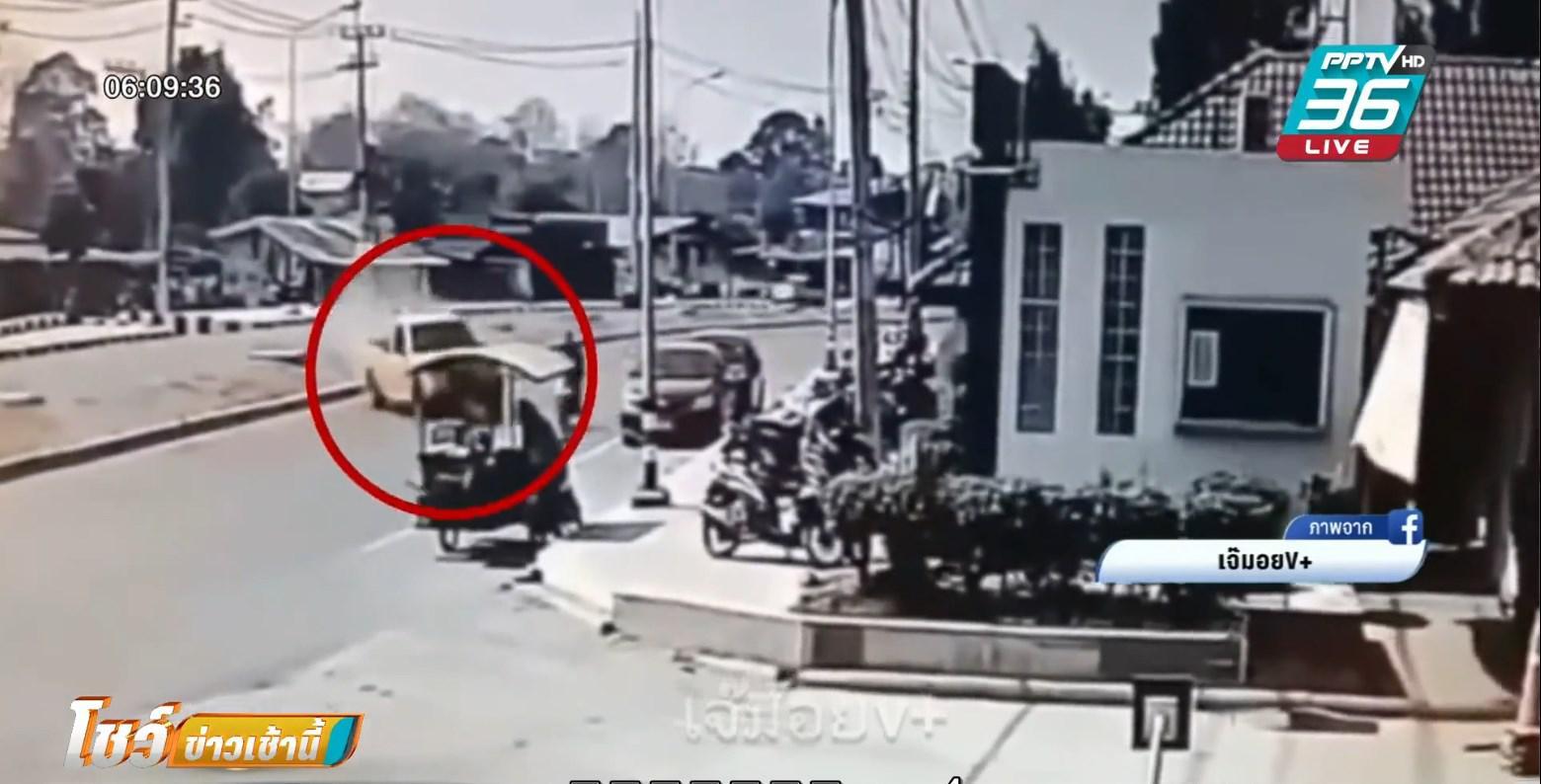 กระบะแต่งซิ่ง แหกโค้ง ชนมอไซค์-รถขายของ ก่อนขับหนี