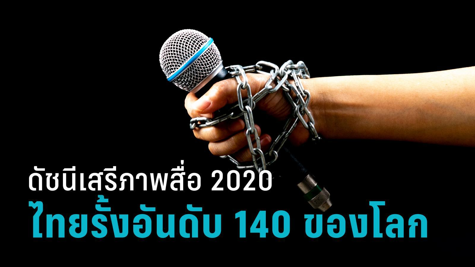 เปิดดัชนีเสรีภาพสื่อ 2020 ไทยรั้งอันดับ 140 ของโลก